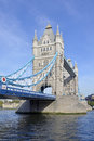 Tower bridge and the river thames high tide at an iconic symbol of london crossing Stock Images