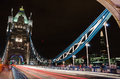 Tower bridge and shard with light trails Стоковое Фото