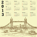 Tower bridge vintage 2013 calendar Royalty Free Stock Photos