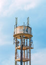 Tower with cellular communications. Royalty Free Stock Photo