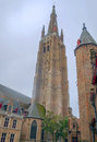 Tower of the Church of Our Lady of Bruges Royalty Free Stock Photo