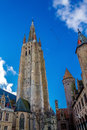 Tower of the Church of Our Lady Bruges Royalty Free Stock Photo