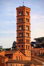 Tower of the church of Santi Giovanni e Paolo in Rome Royalty Free Stock Image