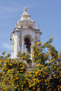 Tower of a church in Tavira, Portugal Royalty Free Stock Photo