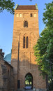 The tower of church of the visitation of the blessed virgin mary warsaw new town in poland s most striking characteristic is Royalty Free Stock Image