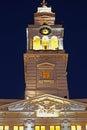 Tower of City Hall from city Arad, Romania, illuminated Royalty Free Stock Photo