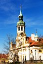 Tower with clocks of loreta and bells in prague Stock Photography