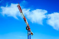 Tower crane with blue sky red white Stock Photos
