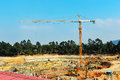Tower crane in construction site,In the construction of large buildings Royalty Free Stock Photo