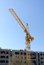 Tower crane near building Stock Photo