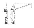 Tower crane vector illustration silhouette Stock Image