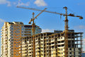 Tower cranes on building Royalty Free Stock Photo