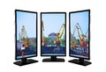 Tower cranes in port flat panels with Stock Photography