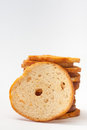 Tower of crispy toasted toast on the white background