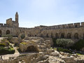 Tower of david and archaeological park at jerusalem old city israel Stock Image
