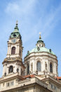 Tower and dome of St. Nicholas Church in Prague Royalty Free Stock Photo