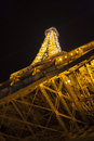 Tower of eiffel at night in paris france december illuminated and shining on december Royalty Free Stock Image