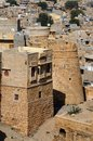 Tower of famous jaisalmer fortress thar desert india surrounded by in rajasthan asia Royalty Free Stock Photo