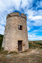 Tower on fields near rennes le chateau vertical in france Stock Photo