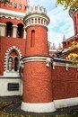 Tower on the fortress wall of the Petroff palace, Moscow, Russia. Royalty Free Stock Photo