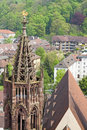 Tower of Freiburg Munster cathedral, Freiburg im Breisgau city, Royalty Free Stock Photo