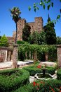 Tower and garden, Alcazaba de Malaga, Spain. Royalty Free Stock Photos