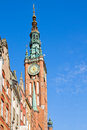 Tower of gdansk city hall old poland Stock Image