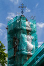 Tower of the Greek Catholic Church in scaffolding Royalty Free Stock Photo