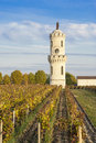 Tower of la tour l'aspic in pauillac and vineyard bordeaux france dl aspic ist the second wine château haut Royalty Free Stock Photo
