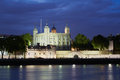 Tower of London, castle at night