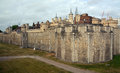 The tower of london outer curtain wall historic uk Royalty Free Stock Photography