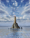 Tower in the middle of the ocean illustration a isolated a rock midst Stock Image