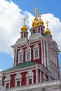 Tower of the novodevichy convent in moscow on a background blue sky Royalty Free Stock Photo