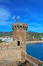 Tower of old castle and view tossa de mar village spain Stock Photo