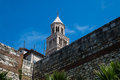 The tower of old church in Split, Croatia. Royalty Free Stock Photo