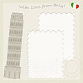 Tower of Pisa greeting card Stock Photo