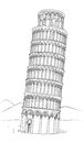 Tower of pisa hand drawn illustration leaning tower of pisa tuscany italy with landscape world heritage in drawing Royalty Free Stock Photos