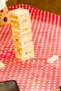 Tower puzzle game wood for leisure Stock Photo