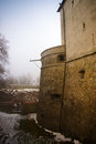Tower of the red stone castle defensive cerveny kamen or in slovakia Royalty Free Stock Photos