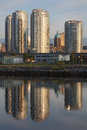 Tower Reflections, False Creek, Vancouver Stock Photos