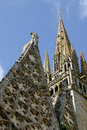The tower of the roman-gothic, collegiate church of Notre-Dame-de-Roscudon Stock Photos