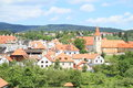 Tower and roofs in cesky krumlov red of old houses town czech republic Royalty Free Stock Image