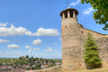 Tower of Saint-Hyppolyte over Cremieu Royalty Free Stock Photos