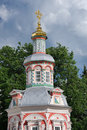 Tower of single domed chapel over the well in sergiyev posad was built front majestic assumption cathedral on grounds holy trinity Royalty Free Stock Image