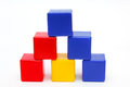 Tower six colored cubes Royalty Free Stock Photography