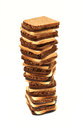 Tower of sliced rye bread Stock Images