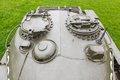 Tower soviet tank t and the commander and gunner s hatch close up Stock Photography