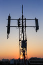 Tower transmition base station sunset transition Royalty Free Stock Photos