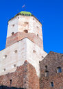 Tower of vyborg castle with tourists russia september walking on observation deck on the roof Stock Images