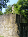 Tower and wall of old german castle between trees Stock Image